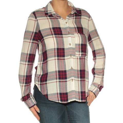 POLLY & ESTHER Womens Red Plaid Cuffed Collared Button Up Top Size: L