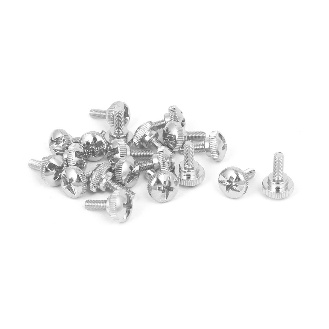 M3x6mm Round Shape Knurled Phillips Head Screw 20pcs for PC Computer Case