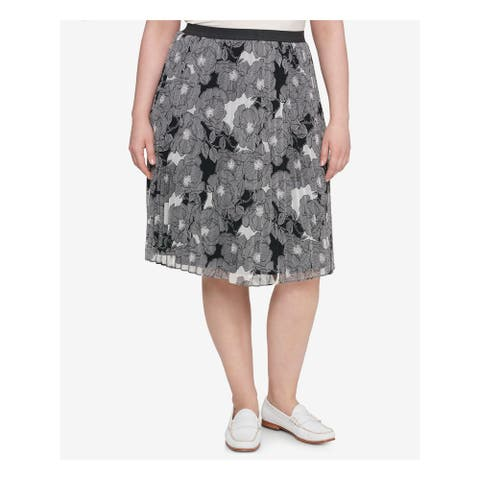 TOMMY HILFIGER Womens Black Printed Knee Length A-Line Skirt Size 0X
