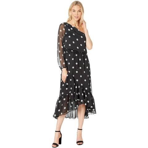 Lauren Ralph Lauren Womens Polka-Dot One-Shoulder Dress 12 Black & Silk White