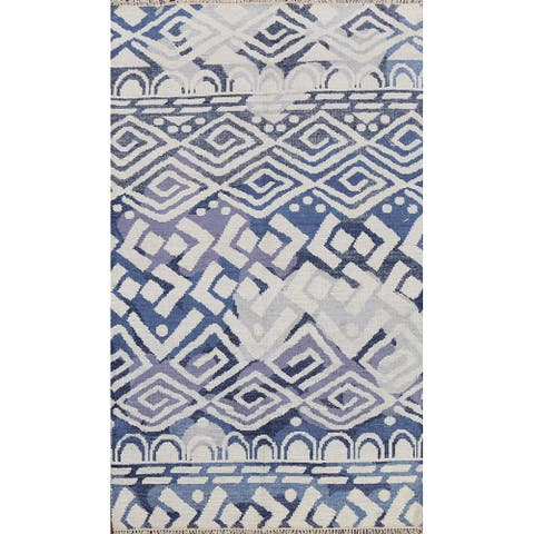 """Wool/ Silk Geometric Oriental Abstract Area Rug Hand-knotted Carpet - 5'0"""" x 7'11"""""""