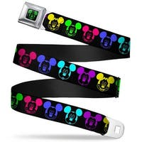 Mickey Mouse Expression2 Full Color Black Neon Green Mickey Expressions Seatbelt Belt
