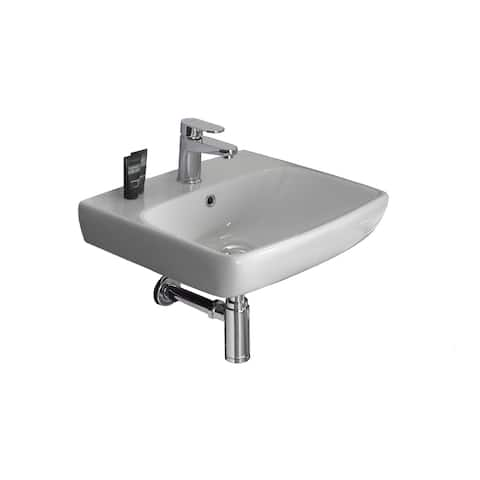"Bissonnet E14141 Energy 20"" Rectangular Vitreous China Wall Mounted Bathroom Sink with Overflow and One Faucet Hole - White"