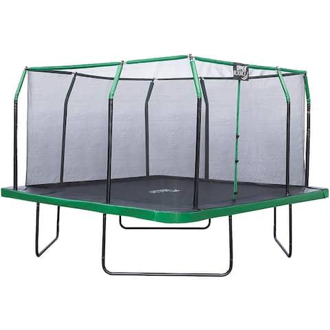Upper Bounce 12 x 12 FT Square Trampoline Set- Black/Green - 12 x 12 Ft