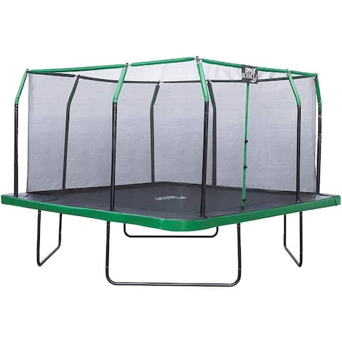 Upper Bounce 16 x 16 FT Square Trampoline Set- Black/Green - 16 x 16 Ft