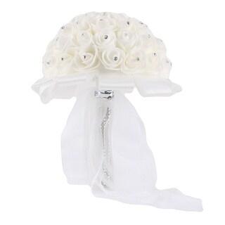 Bridal Wedding Bridesmaid Rose Holding Bouquet Artificial Simulation Flower White