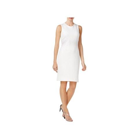 Calvin Klein Womens Scuba Dress Sleeveless Knee-Length