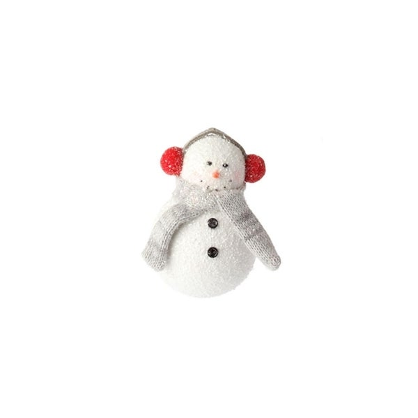 """5"""" Country Cabin Glitter Frosted Snowman with Earmuffs Christmas Ornament"""