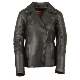 Womens Black Leather Vented Motorcycle Jacket