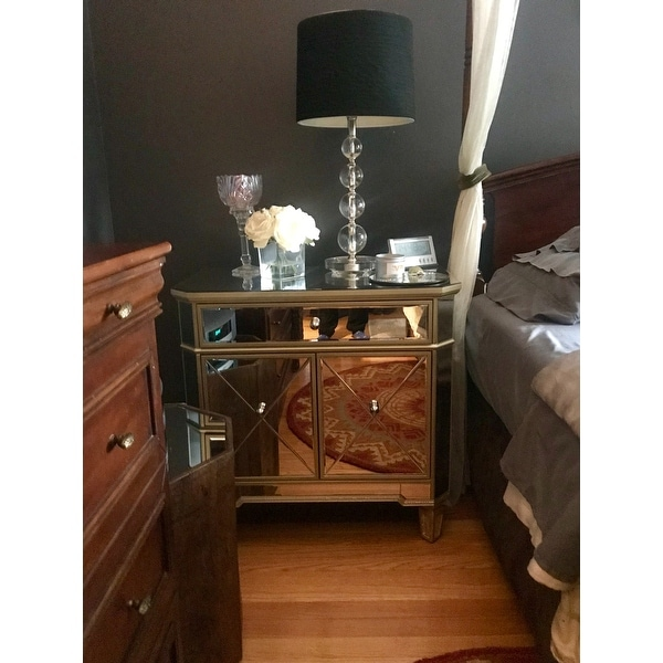 Shop Abbyson Alexis Gold Trim Mirrored Console Cabinet   On Sale   Free  Shipping Today   Overstock.com   10612248