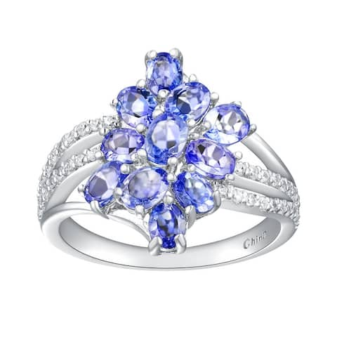 2.20 cttw Oval-Cut Tanzanite Cluster Style Ring, Sterling Silver