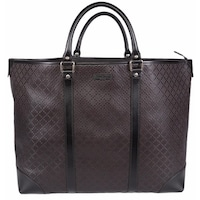 bc138aab775c Gucci 309413 Unisex Brown Leather Diamante XL Tote Travel Purse Bag - 16