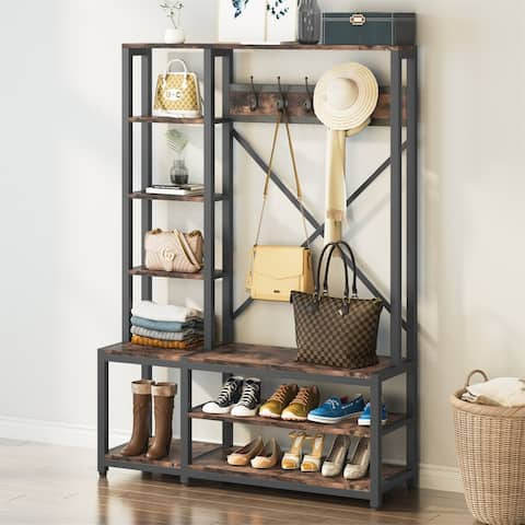 4 in 1 Hall Tree with Storage Bench, Coat Rack and Shoes Bench