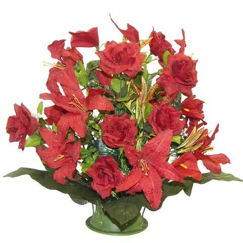 "22"" Tall open rose/tiger lily arrangement"