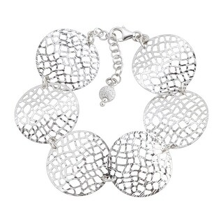 Circular Textured Mesh Link Bracelet in Sterling Silver - White