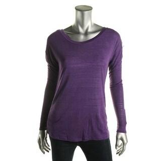 Material Girl Womens Juniors Mesh Back Colorblock Pullover Top