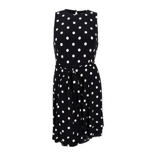 Lauren Ralph Lauren Women's Polka Dotted Dress (16P, Black/Cream)