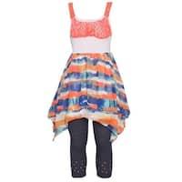 Little Girls Neon Coral Diffuse Stripe Angled Hem Top 2 Pc Legging Set