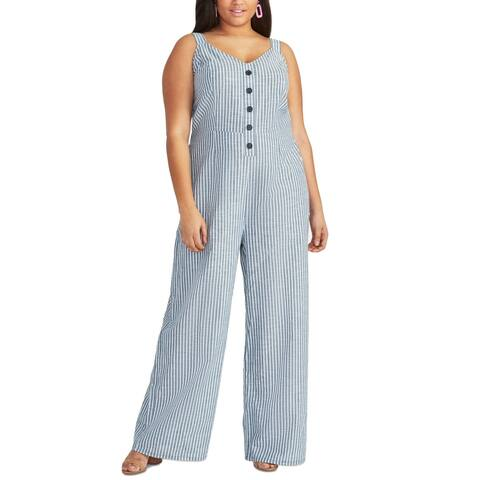 Rachel Rachel Roy Women's Jumpsuit Blue Size 24W Plus Stripe Print