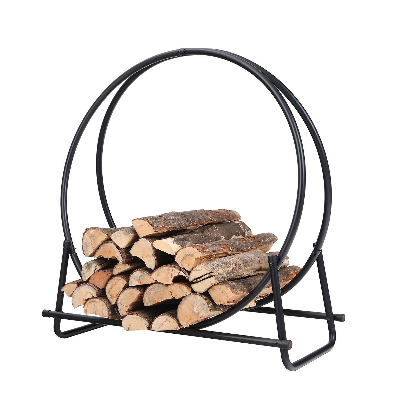 Shop Black Friday Deals On Phi Villa 30 Inch Log Hoop Firewood Rack Fireplace Wood Storage Holder Indoor Outdoor Heavy Duty Iron Black Overstock 30060315