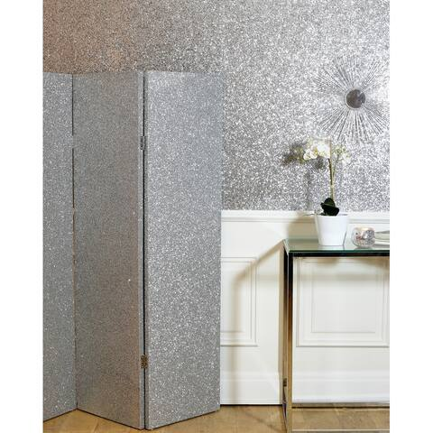 Arthouse 3-Panel Silver Sequin Folding Room Divider