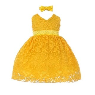 Baby Girls Yellow Rose Lace Overlaid Beaded Headband Flower Girl Dress