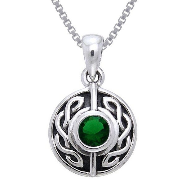 Sterling Silver Gemstone Celtic Knotwork Necklace. Opens flyout.