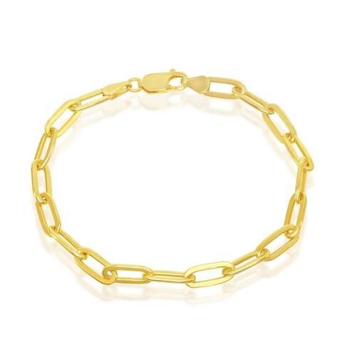 La Preciosa La Preciosa 925 Sterling Silver Italian Paper Clip 120 Gauge Gold/Rhodium Polished 4mm 7'', 8'' Link Chain Bracelet