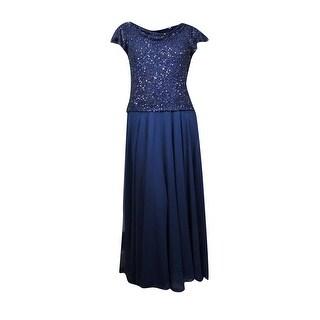 Jkara Women's Embellished Flutter Sleeve Popover Chiffon Dress