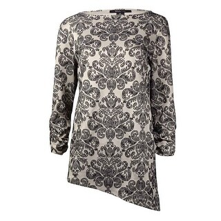 Style & Co Women's  Asymmetrical Glittered Ruched Sleeve Blouse