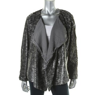 Free People Womens Sequined Open Front Jacket
