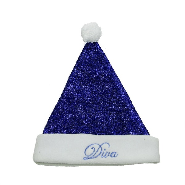 "14"" Sparkling Metallic Blue ""Diva"" Christmas Santa Hat - Medium"