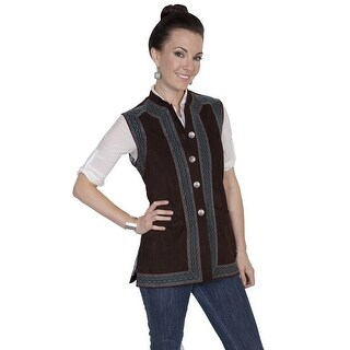 Scully Western Vest Womens Embroidered Suede Metallic Button
