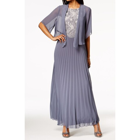 SLNY Womens Floral Lace Popover Pleated Gown Dress