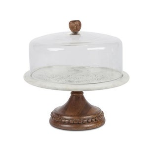 """13"""" Brown and Gray Glass Cake Pedestal with Etched Floral Base Design"""