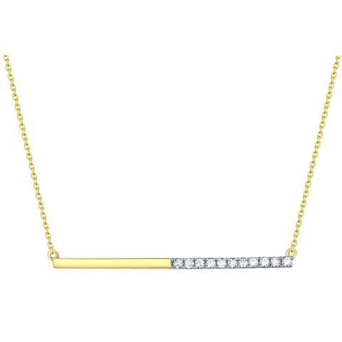 Prism Jewel 0.09Ct G-H/I1 Round Natural Diamond Bar Necklace with Chain - White