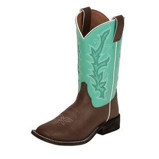 Justin Western Boots Girls Burnished Square Chocolate Seagreen 310JR