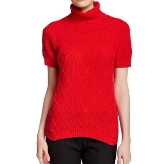Lafayette 148 NEW Red Knit Women Large L Turtleneck Mock Wool Sweater