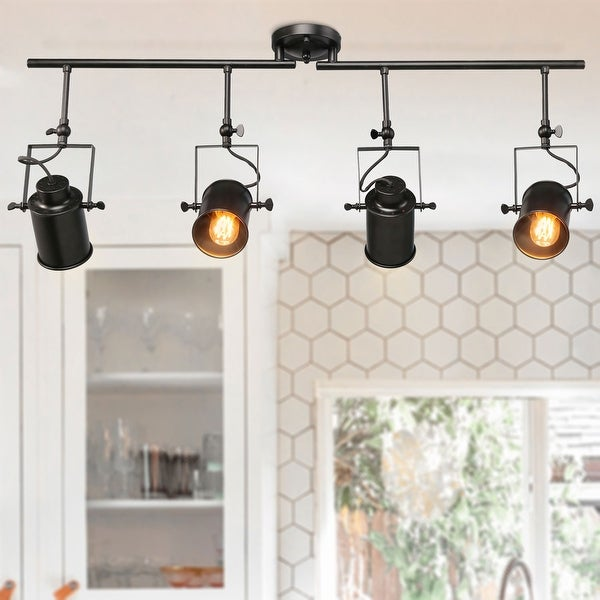 "Rustic Spotlight 4-light Tracking Lights Black Ceiling Lighting - W 36.4"" x E4.7"" x H15"". Opens flyout."