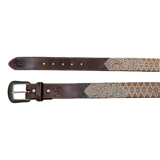 HOOey Western Belt Men Floral Tooled Leather Logo Dark Brown