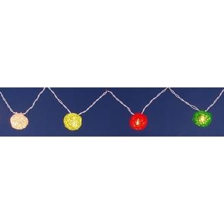 Set of 10 Vibrant Multi-Colored Rattan Ball Party Lights - White Wire - multi