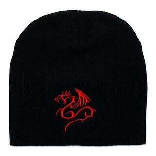 Red Dragon Cuffless Short Beanie - Black