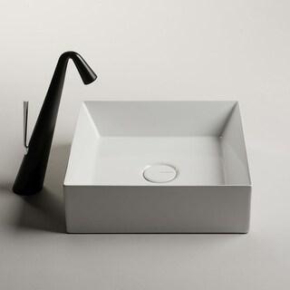 "WS Bath Collections Track 38.38  Track 15"" Ceramic Vessel Bathroom Sink - Gloss White"