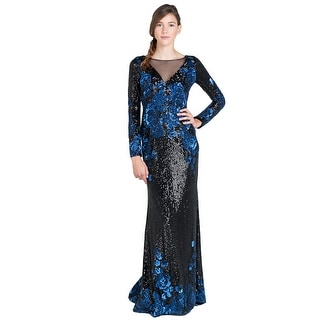 Badgley Mischka Floral Sequin Long Sleeve Sheer V-Front Evening Gown Dress - 2