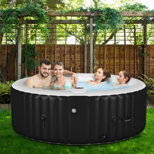 Goplus Portable Inflatable Bubble Massage Spa Hot Tub 4 Person Relaxing Outdoor - Black