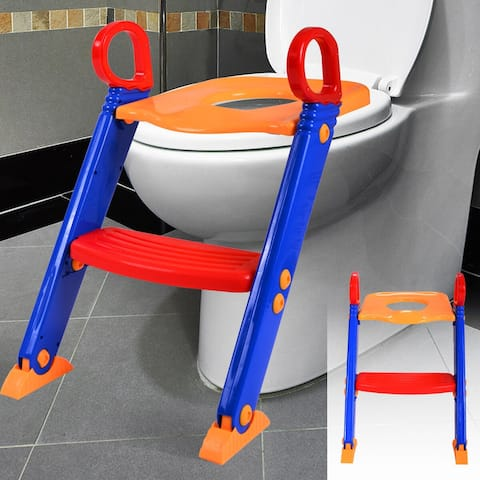 Trainer Toilet Potty Seat Chair Kids Toddler With Ladder Step Up - Blue