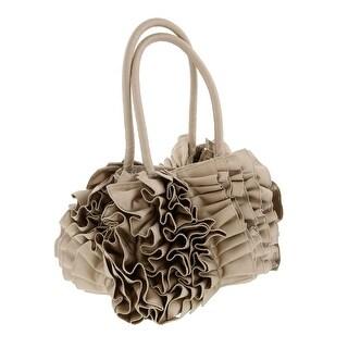 Scheilan Taupe Fabric Ruffled Top Handle Bag