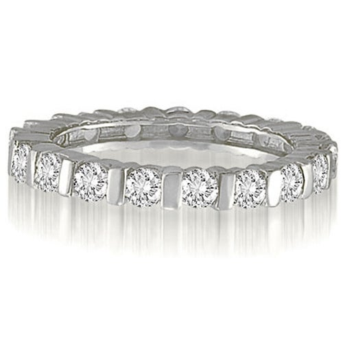 1.25 cttw. 14K White Gold Bar Set Round Cut Diamond Eternity Wedding Band Ring