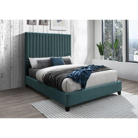 Dobri Channel Tufted Velvet Upholstered Bedframe with High Headboard (Gray/ Teal)