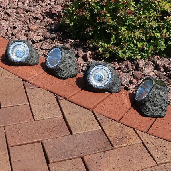 Sunnydaze Decorative Garden Rock Solar Light with White LED Light Set of 4